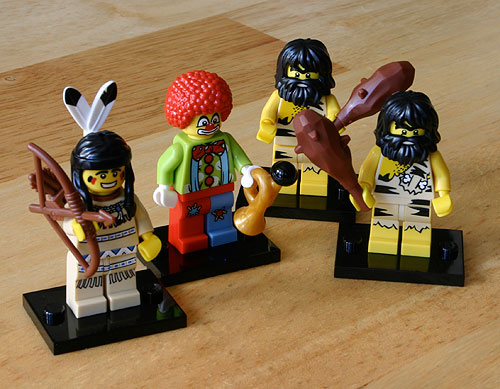 LEGO Minifigs - Indian, caveman, clown