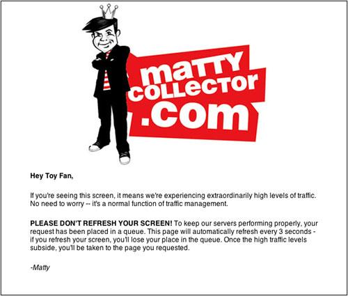 Matty Collector fail screen