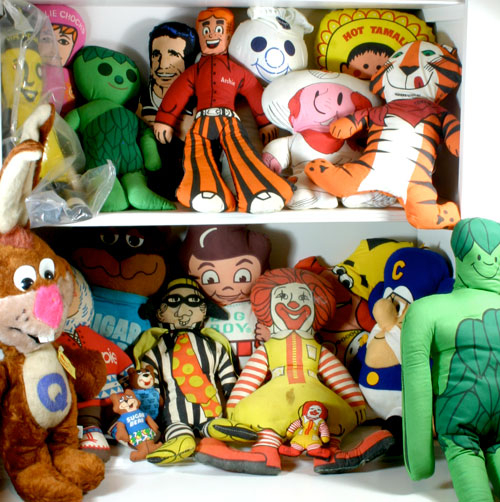 advertising plush dolls and pillows from the 70's