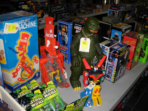 Vintage Godzilla, Voltron, and Mr. Machine toys