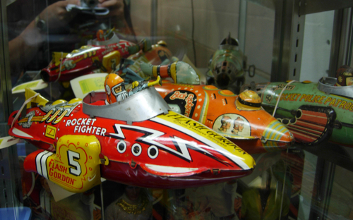 Vintage Buck Rogers and Flash Gordon tin toy space ships