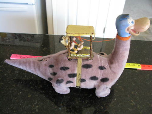 Flintstones Marx toy Fred on a dinosaur
