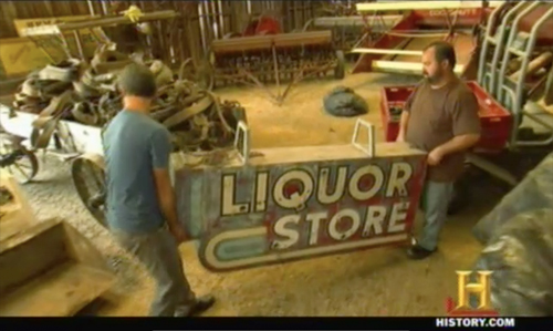 american pickers mikes breakdown liquor sign