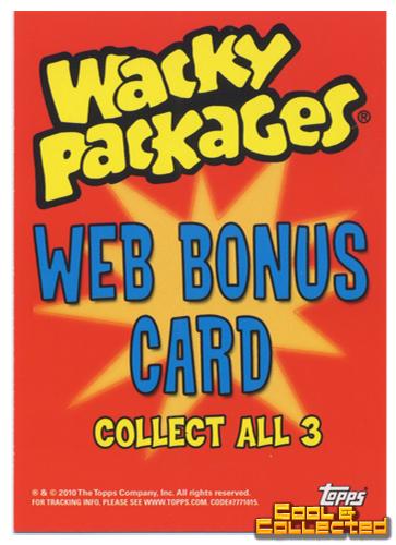 wacky packs Series 10 bonus card