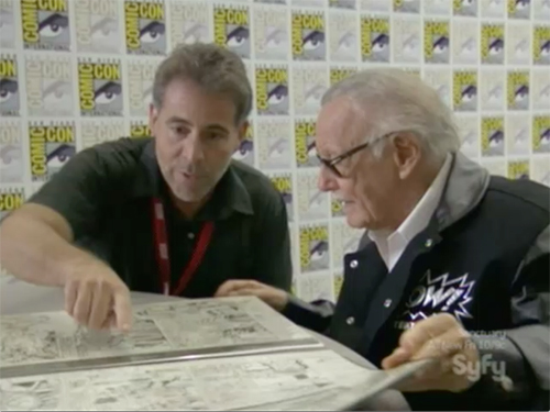 hollywood treasure - Stan Lee looks at Fantastic Four artwork