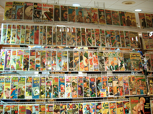 comic show wall of vintage comic books