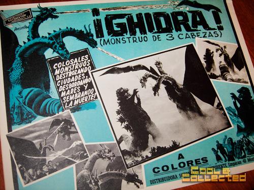 vintage mexican Godzilla and Ghidra movie lobby card