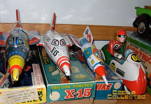 Vintage tin friction spaceships