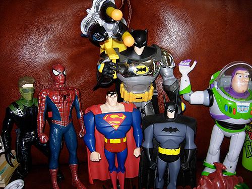 superhero toys -- Batman, Superman, Spiderman, and Buzz Lightyear