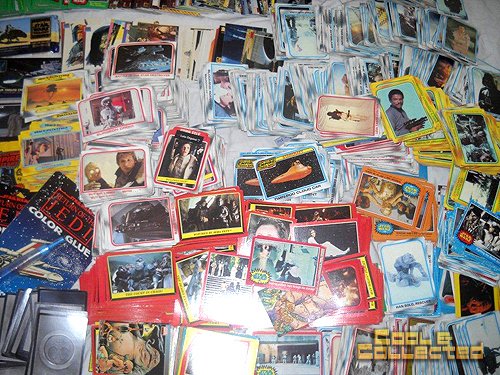 collection of vintage star wars trading cards