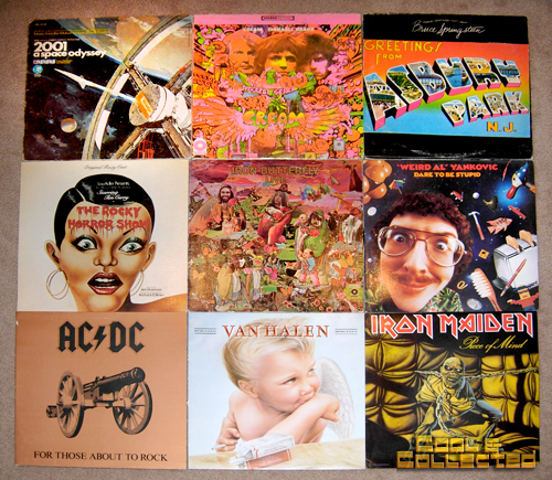 collection of vintage records LPs