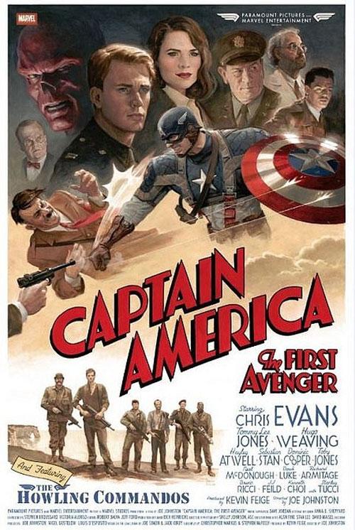 captain america movie poster retro style