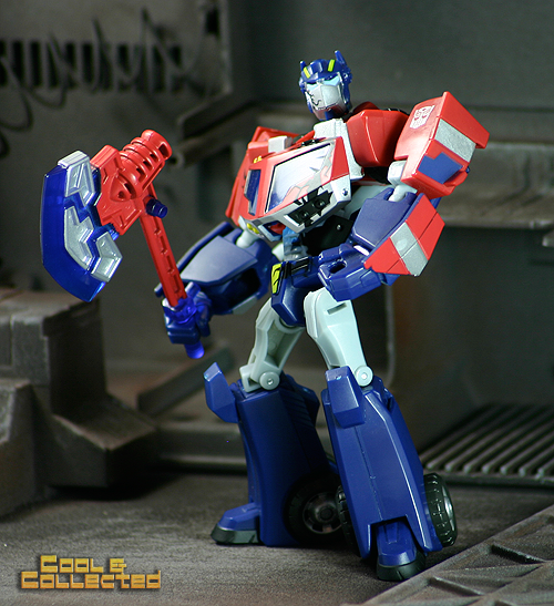 Detailed close-up photo of a Transformer Optimus Prime action figure