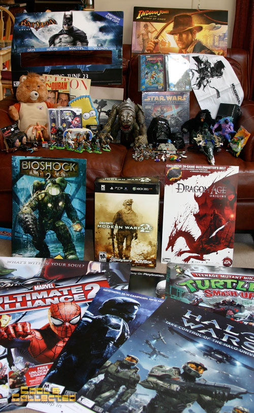 yard sale haul - video game posters and swag