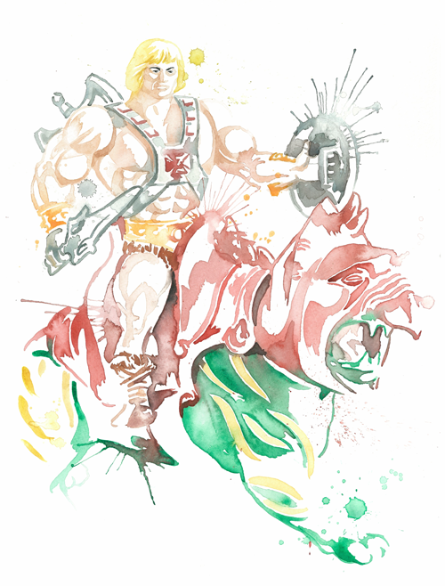 He-Man and Battlecat Watercolor