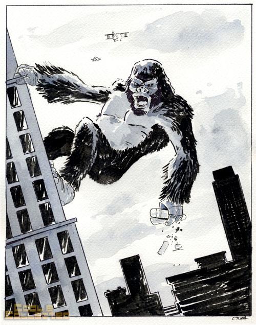 King Kong watercolor painting by Chris Tupa
