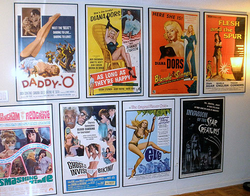 vintage movie poster collection on display