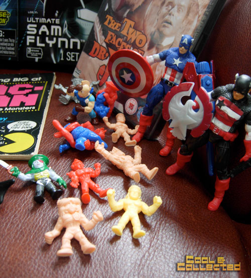 mini wrestler figures  and Captain America