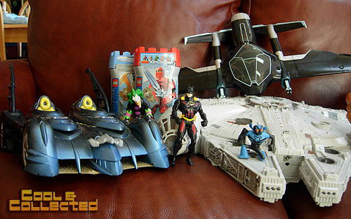 yard sale finds  - batmobile and batman