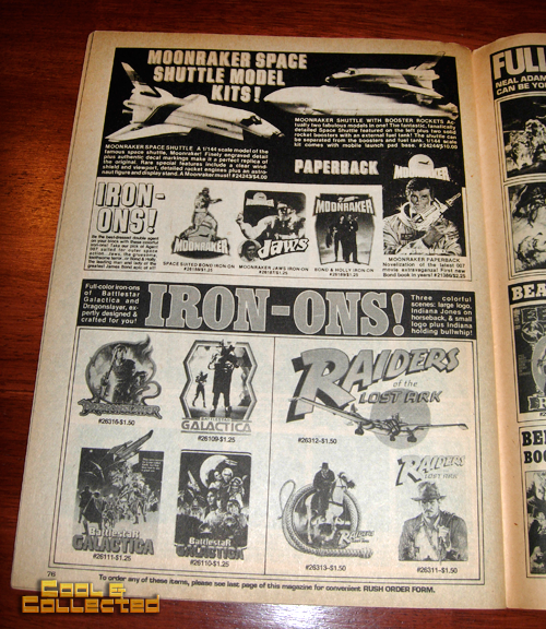 Raiders of the Lost Ark iron on transfers ad