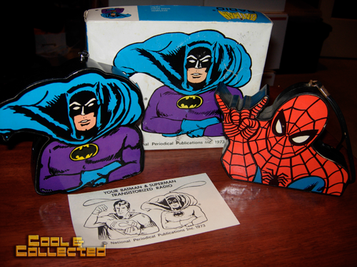vintage spiderman and batman radios