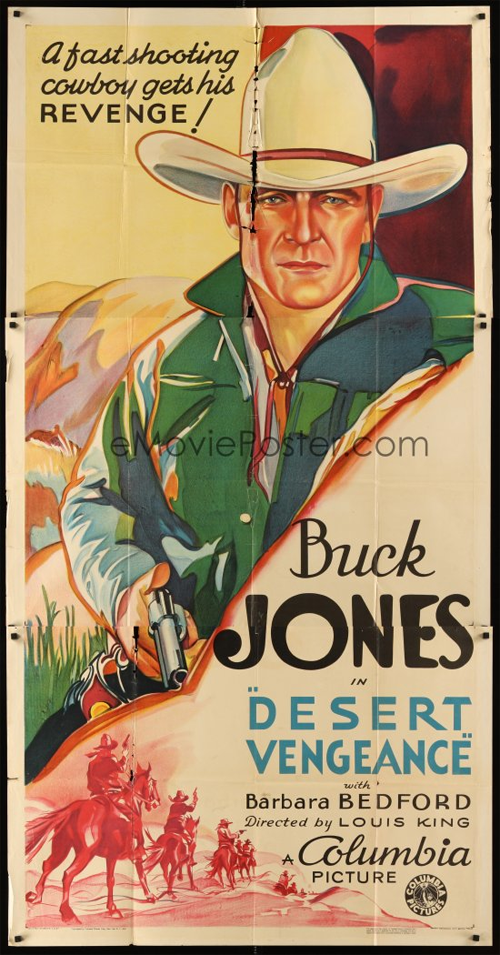 vintage movie poser for buck jones' desert vengeance
