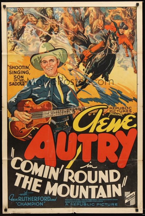Vintage movie poster for Gene Autry's Comin' Round the Mountain