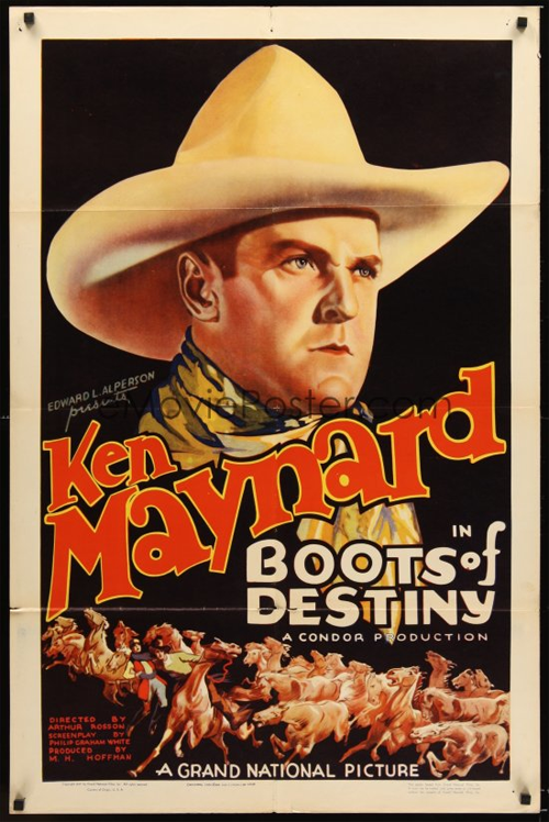 Vintage movie poster for Ken Maynard's Boots of Destiny