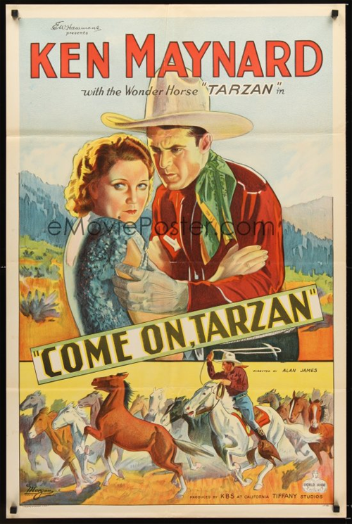 Vintage movie poster for Ken Maynard's Come on Tarzan