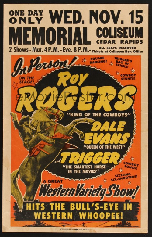 Vintage poster for Roy Rogers' Western Variety Show