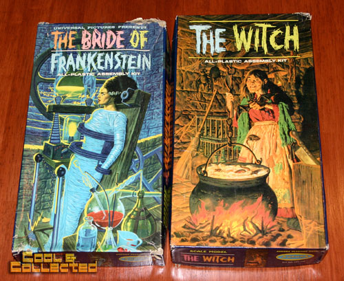 aurora model kits - bride of frankenstein and the witch
