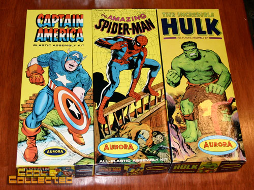 aurora model kits - captain america, spiderman, and hulk