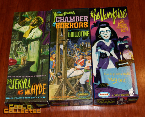 aurora model kits - dr jekyll and mr. hyde, guillotine, vampire