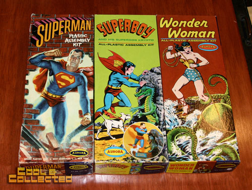 aurora model kits - wonder woman, superman, and superboy