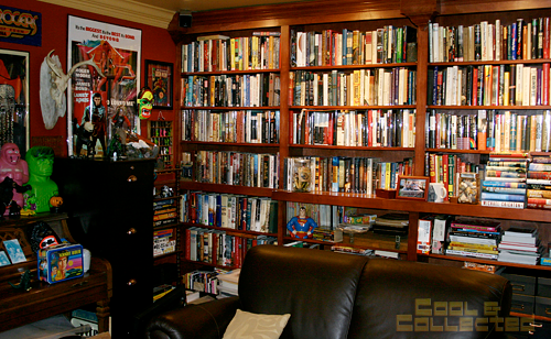 bat cave - Wall of first edition books