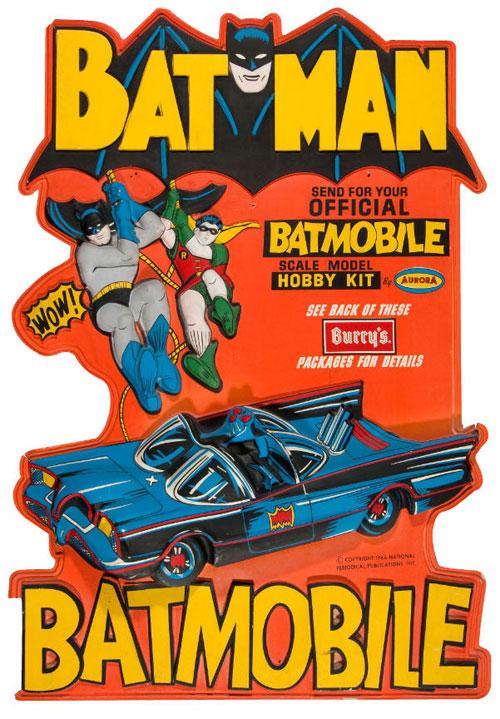 """BATMAN"" HUGE AND IMPRESSIVE 1966 ""BURRY'S COOKIES"" VACU-FORM DISPLAY W/ BATMOBILE KIT OFFER."