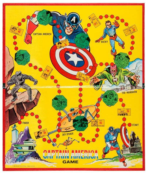 """CAPTAIN AMERICA"" GAME BY MILTON BRADLEY 1966 HIGH GRADE EXAMPLE WITH COMIC."
