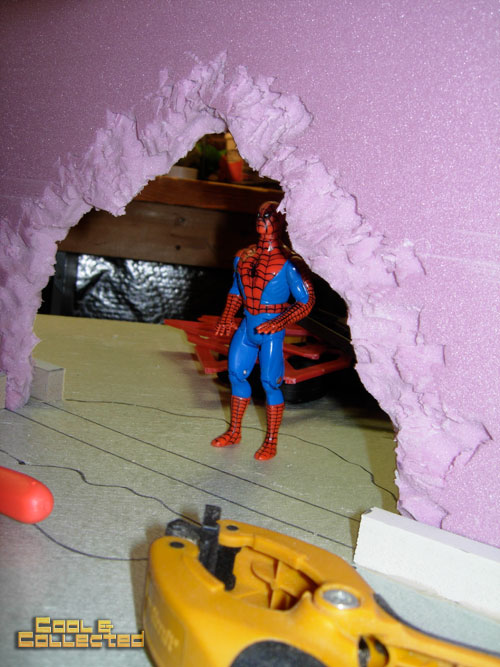 how to build a diorama backdrop for action figure photography - assembling the walls
