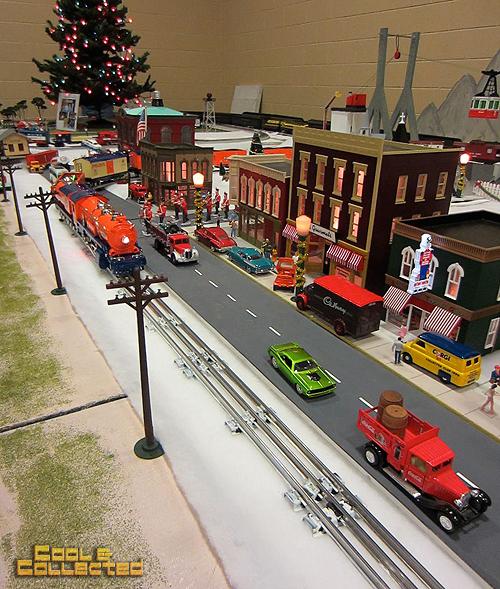 O-scale christmas model train layout