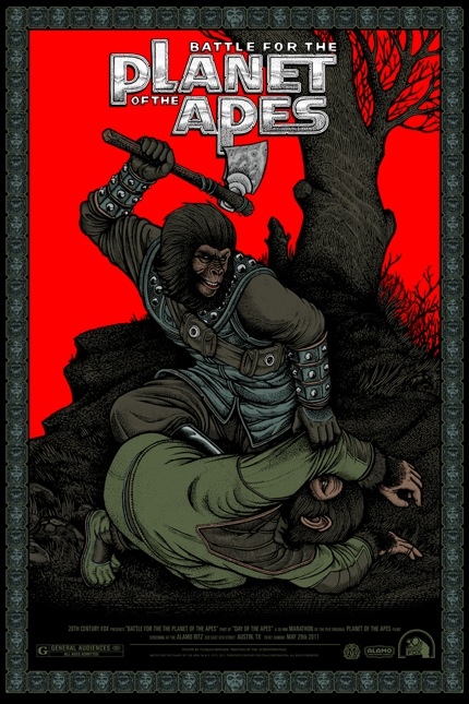 Battle for the Planet of the Apes by Floriam Bertmer - Mondo poster