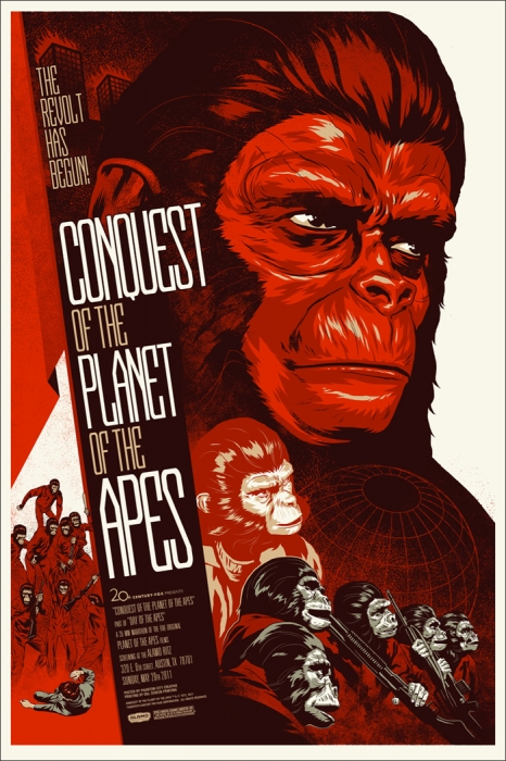 Conquest of the Planet of the Apes by Phantom City creative - Mondo poster