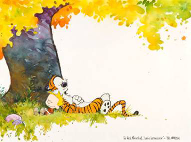 original Calvin and Hobbes painting by Bill Watterson up for auction at Heritage