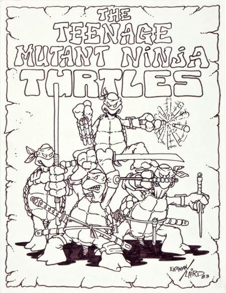 Teenage Mutant Ninja Turtles - tmnt - Kevin Eastman first-ever art illustration
