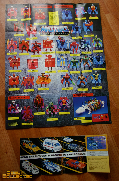 yard sale find - Masters of the Universe and Transformers inserts
