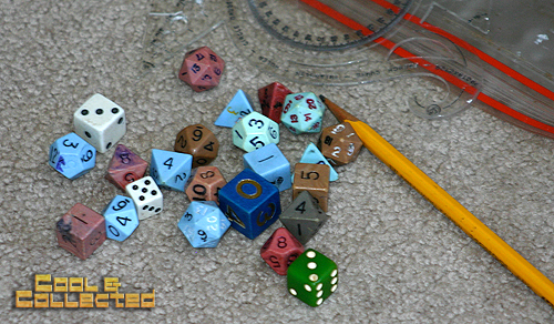 yard sale finds - Dungeons and Dragons dice