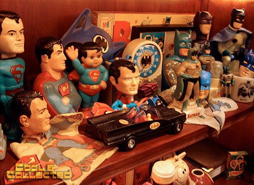 vintage Batman and Superman toy collection display