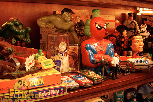 vintage Hulk and Spiderman toy collection display
