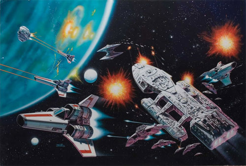 battlestar galactica original art painting