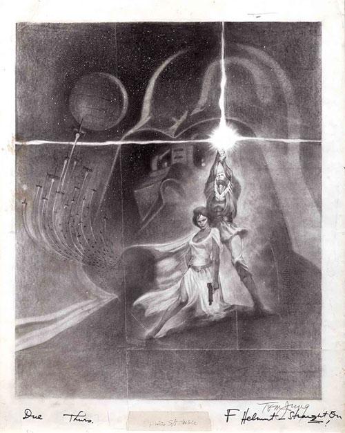star wars movie poster concept art sketch
