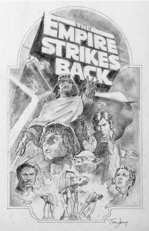 star wars empire strikes back movie poster concept art sketch